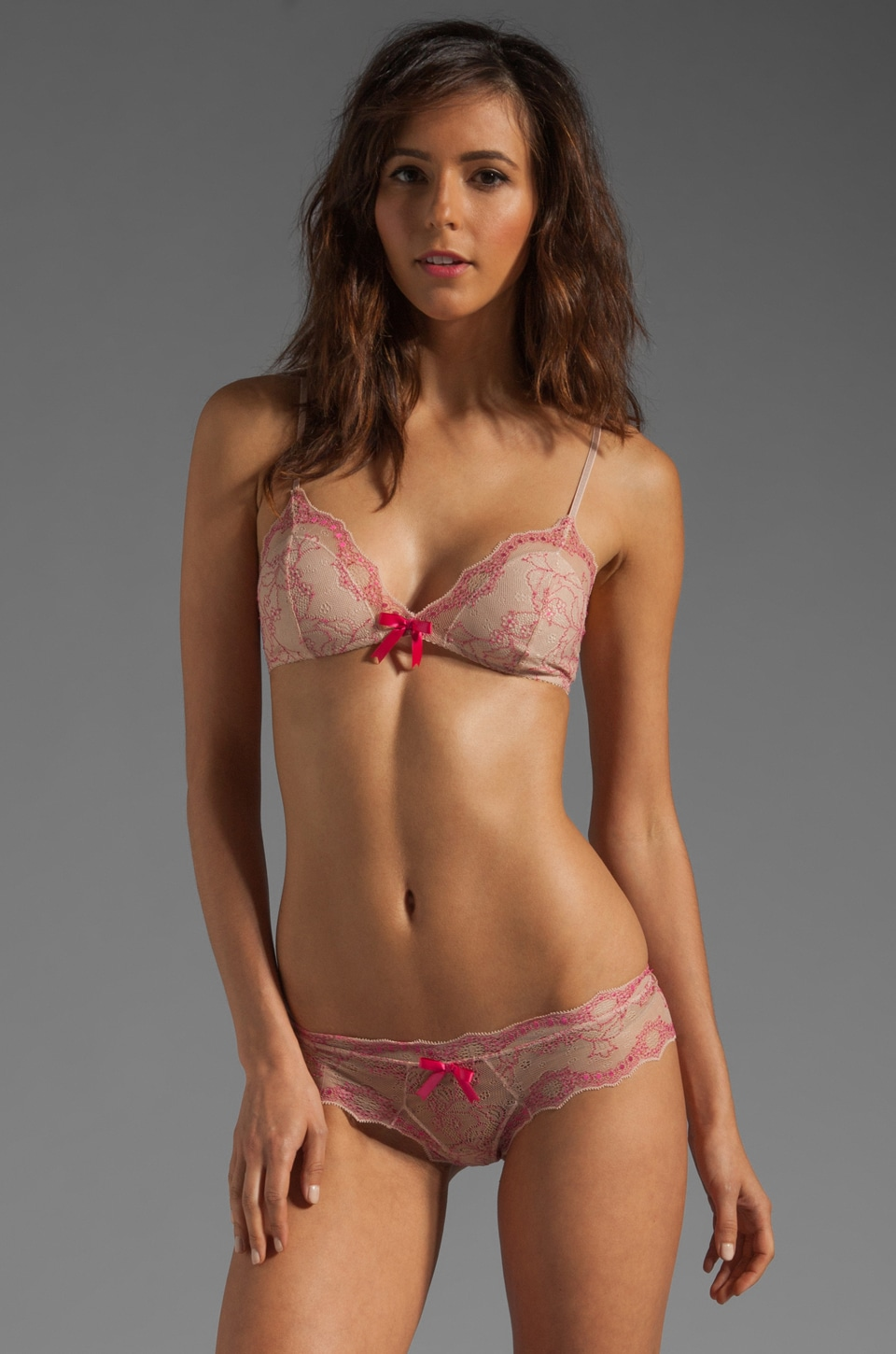 eberjey Orianna Bralet in Nude/Very Berry