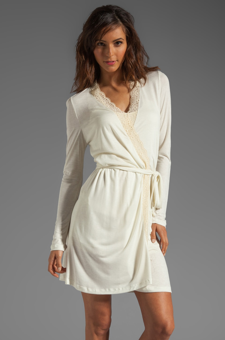 eberjey Crochet Dreams Robe in Ivory