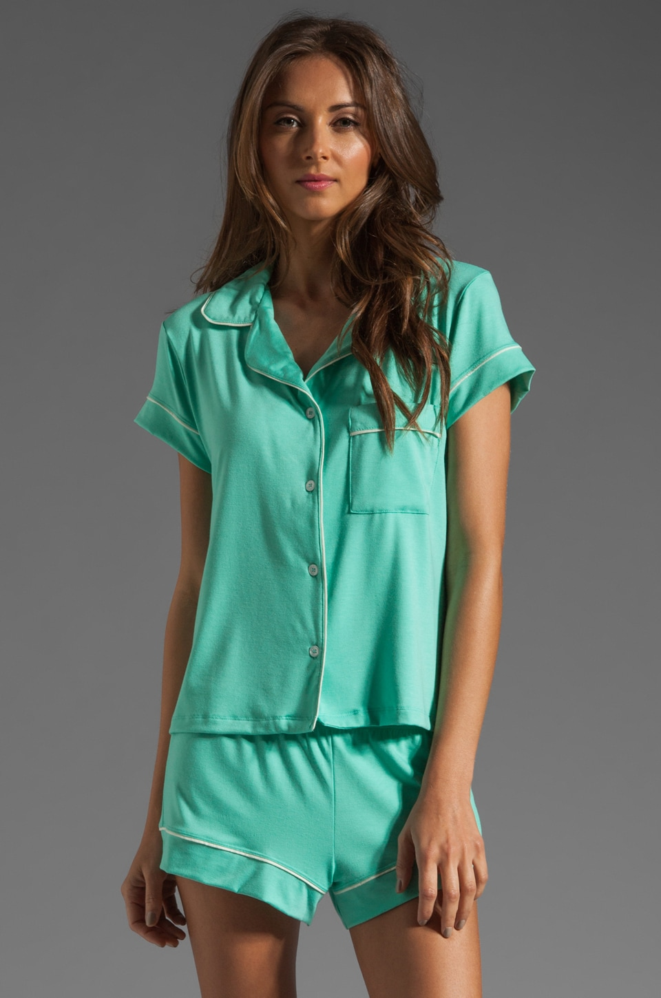 eberjey Gisele PJ's Short Top in Spearmint