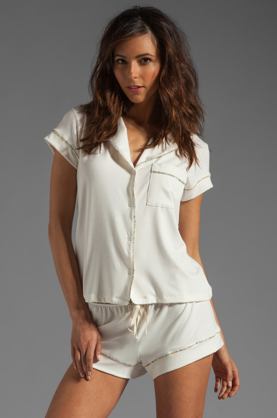 eberjey Miss Liberty Short PJ Top in Ivory/Lemon