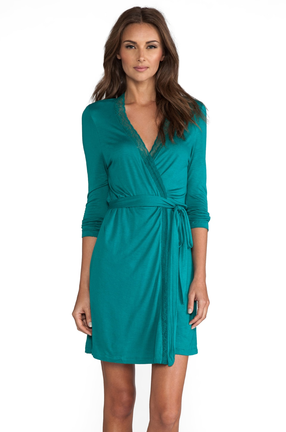 eberjey Veronique Lace Robe in Emerald