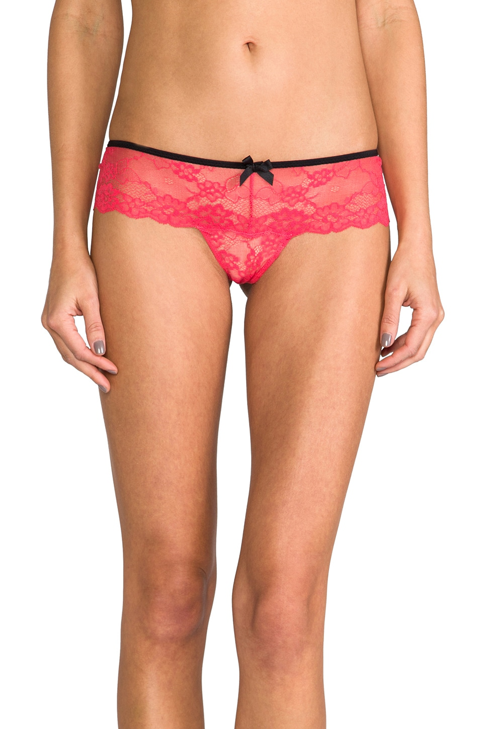 eberjey Fiona Lace Thong in Guava