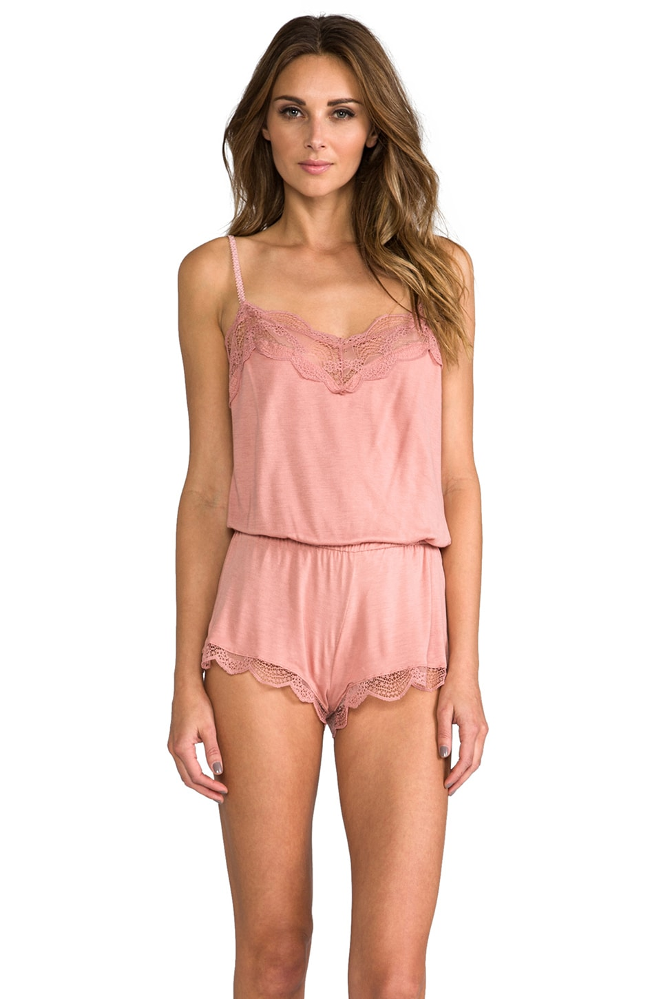 eberjey Estelle Teddy Romper in French Rose