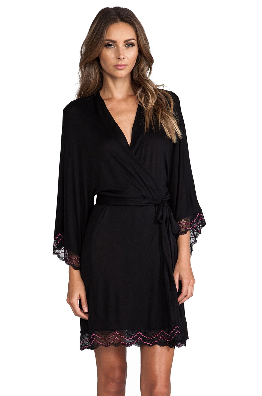 eberjey Mae Kimono Robe w/ Lace in Black & Raspberry