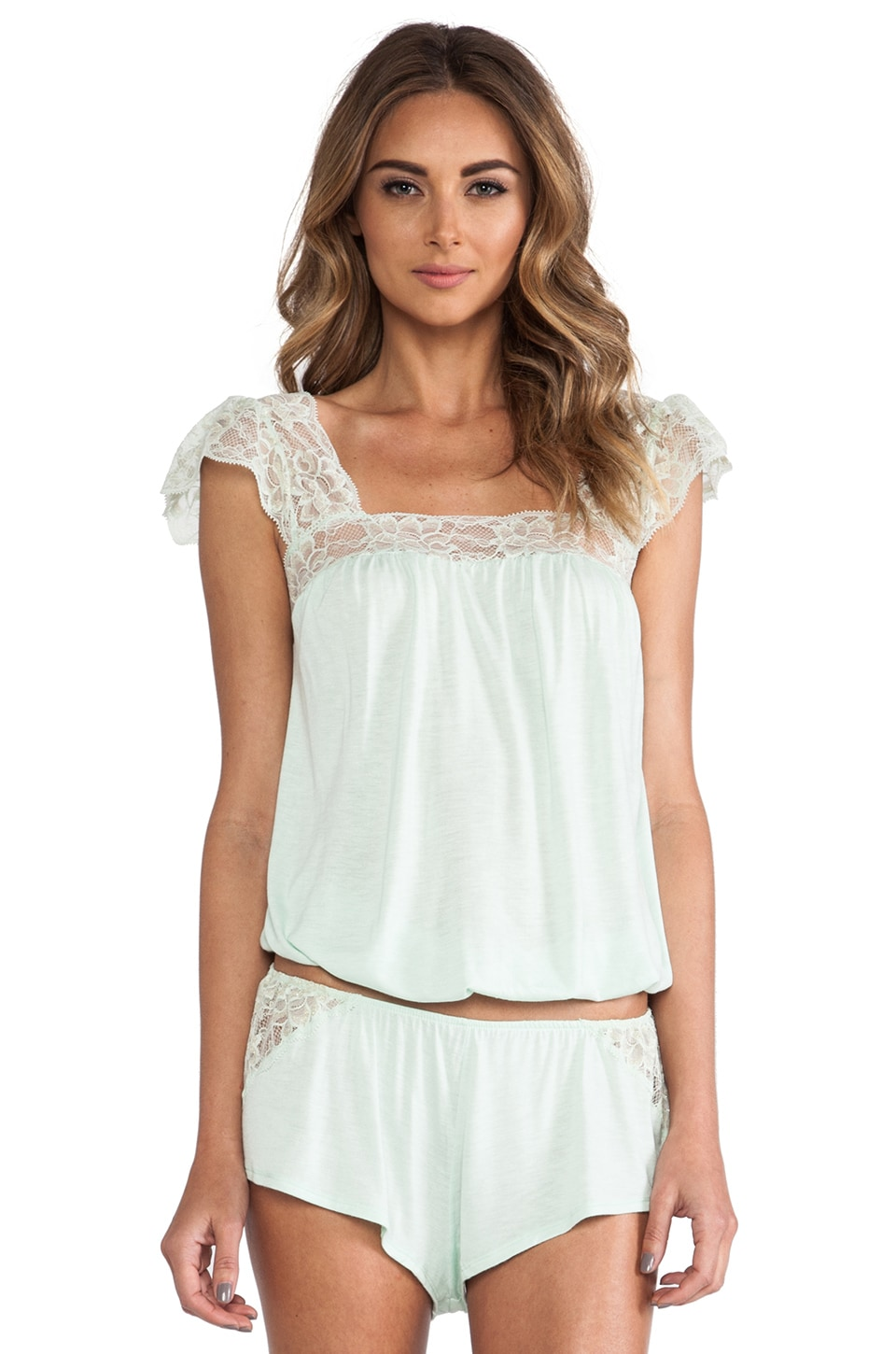 eberjey Golden Girl Flutter Sleeve Cami in Pistachio