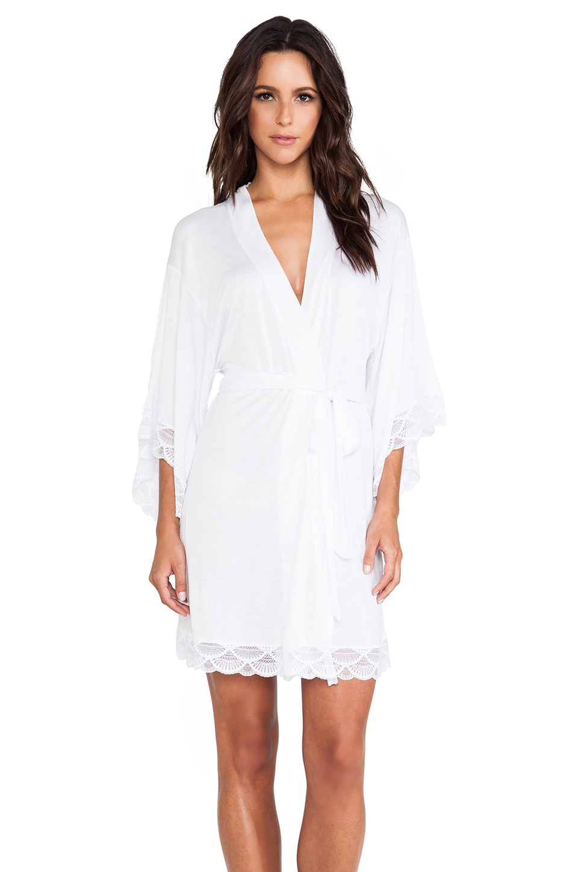 eberjey Kimono Lace Robe in White