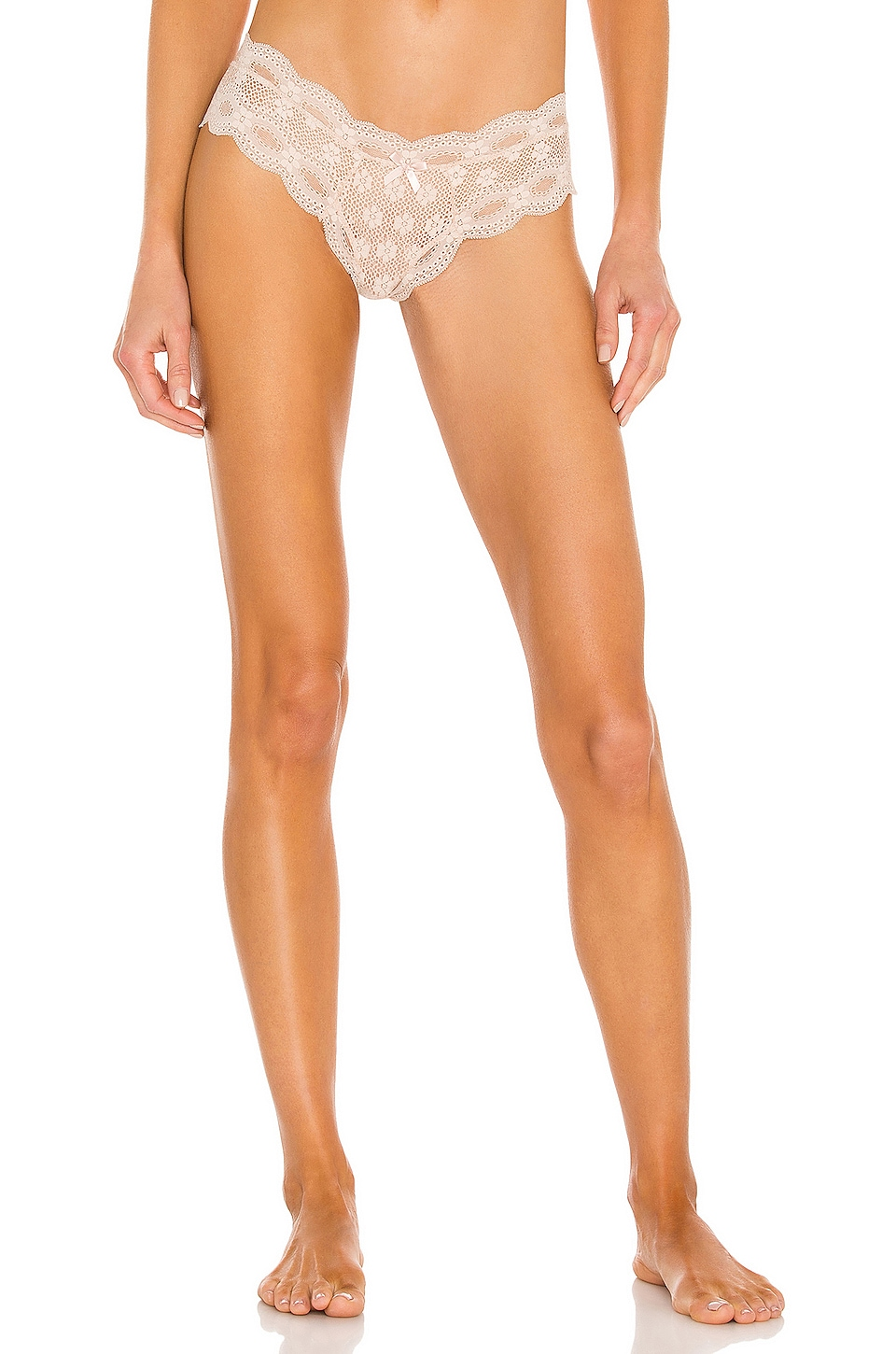 eberjey India Lace Low Rise Thong in Bare