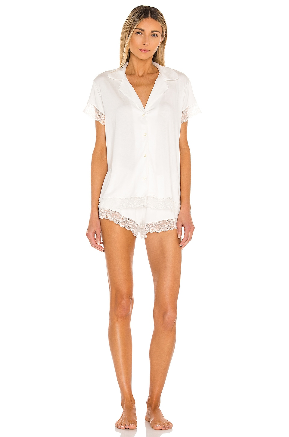 eberjey Malou Lace PJ Set in Ivory