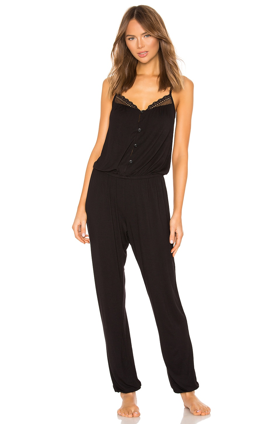 eberjey Lucie Button Down Jumpsuit in Black