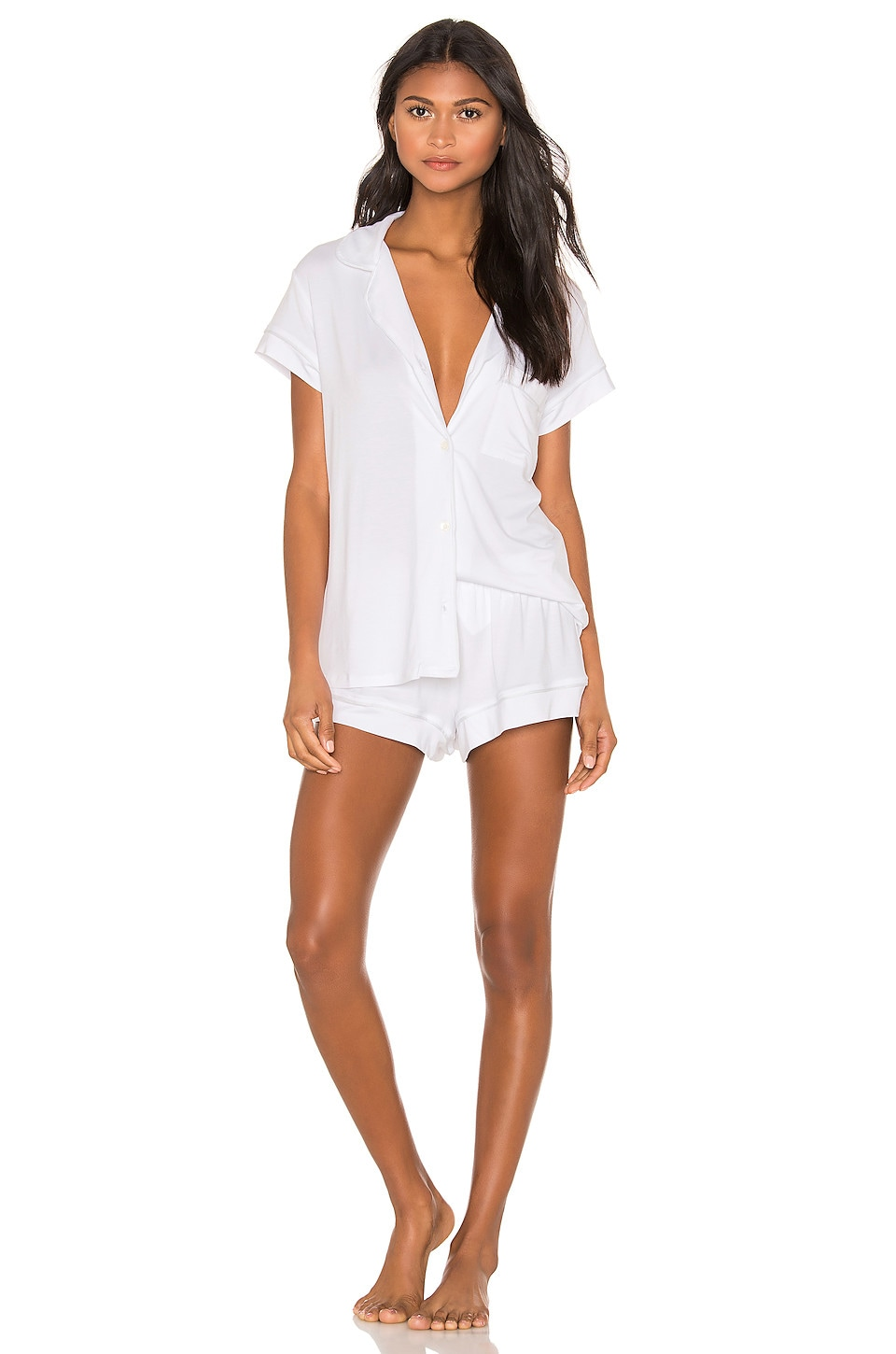 eberjey Gisele Short PJ Set in White & Water Blue
