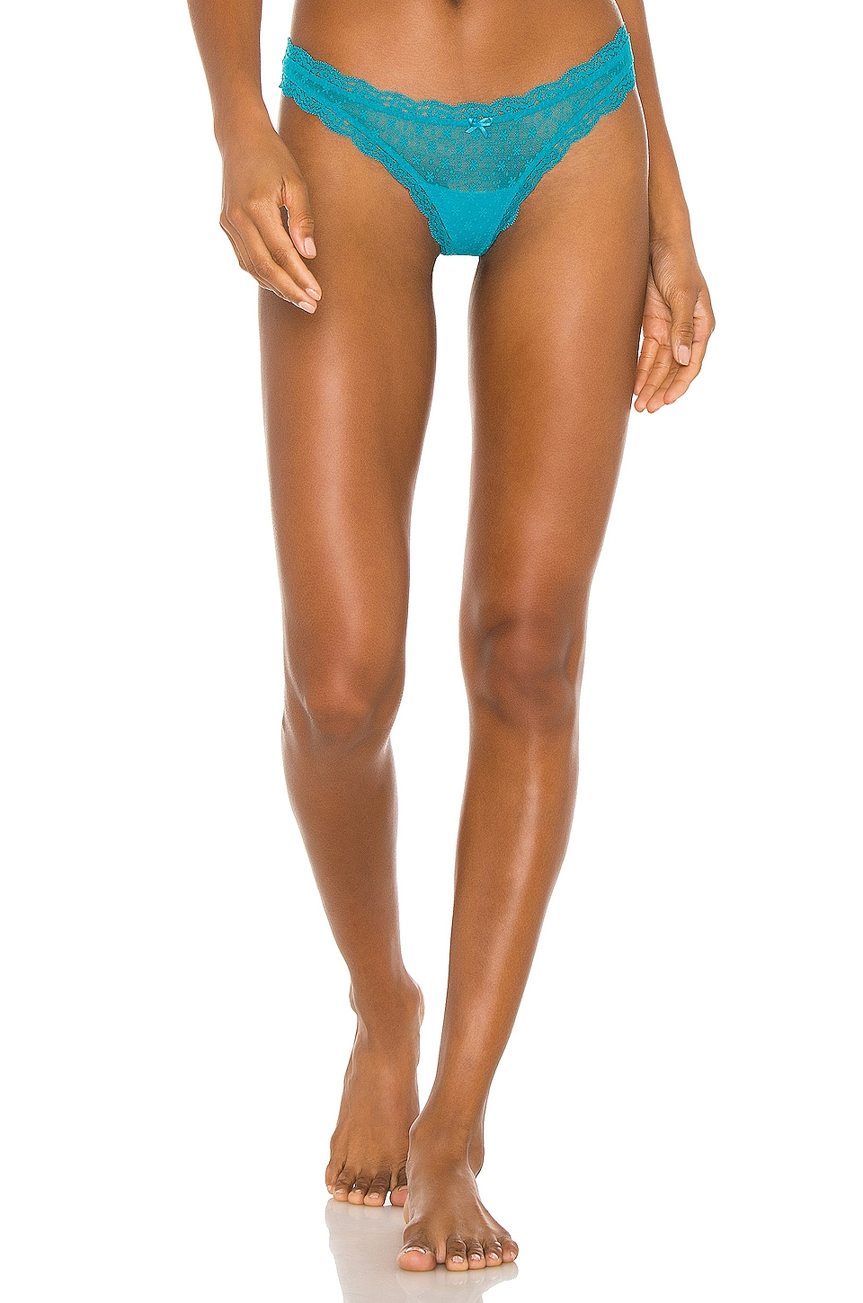 eberjey Delirious Lace Low Thong in Turquoise