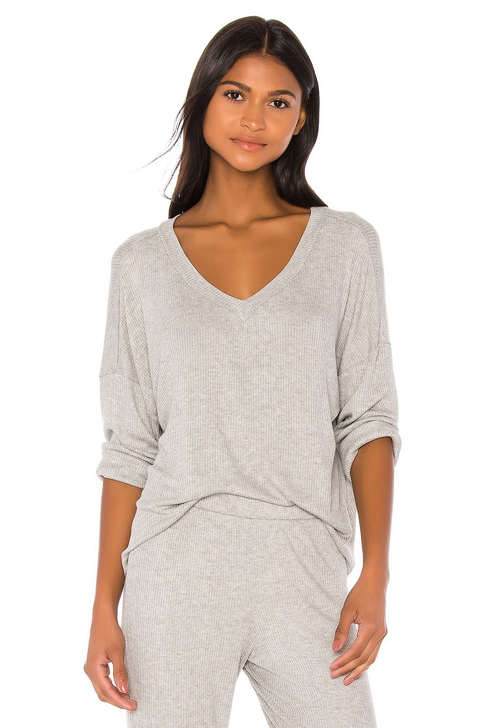 eberjey Elon V Neck Pullover in Heather Grey