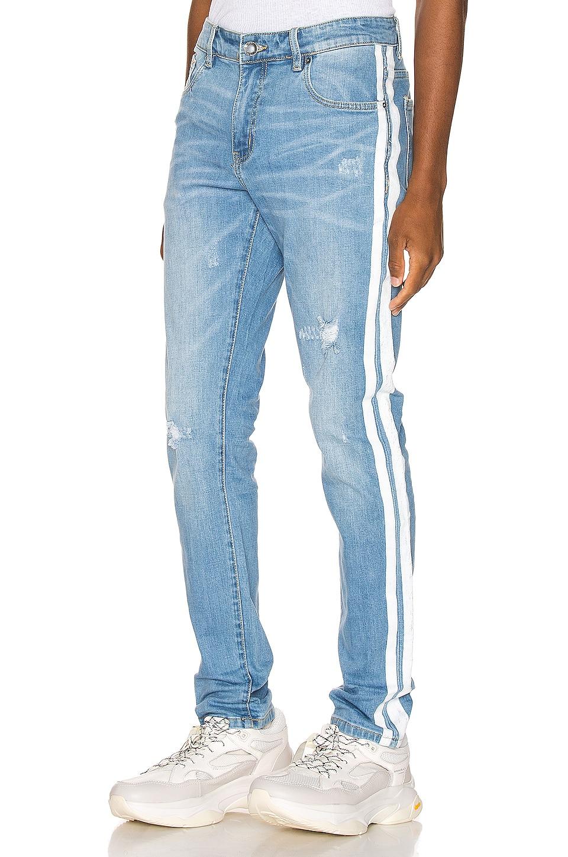 EmbellishNYC Bolt Jean in Blue & White
