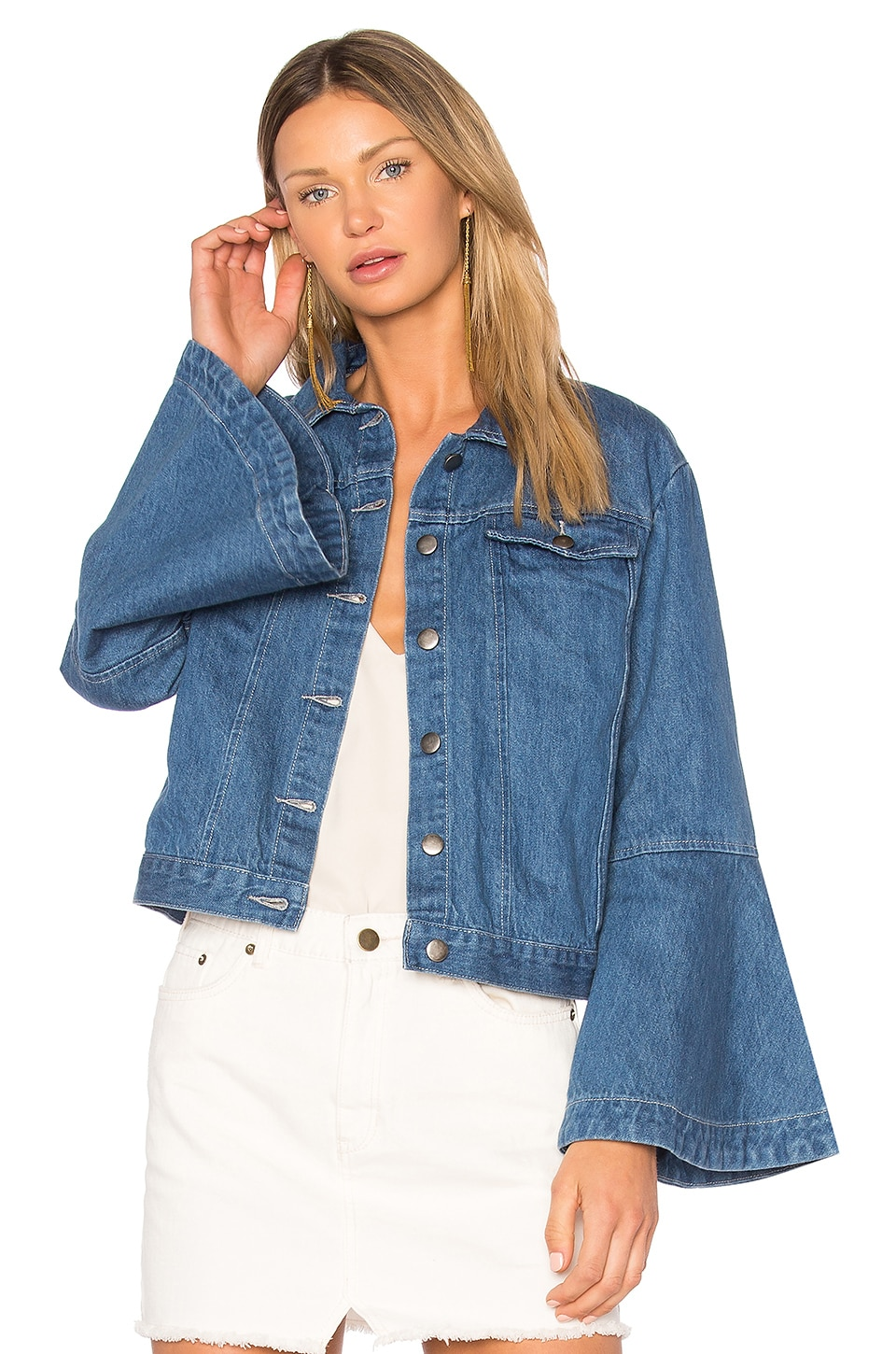 Flute Sleeve Denim Jacket by EDIT