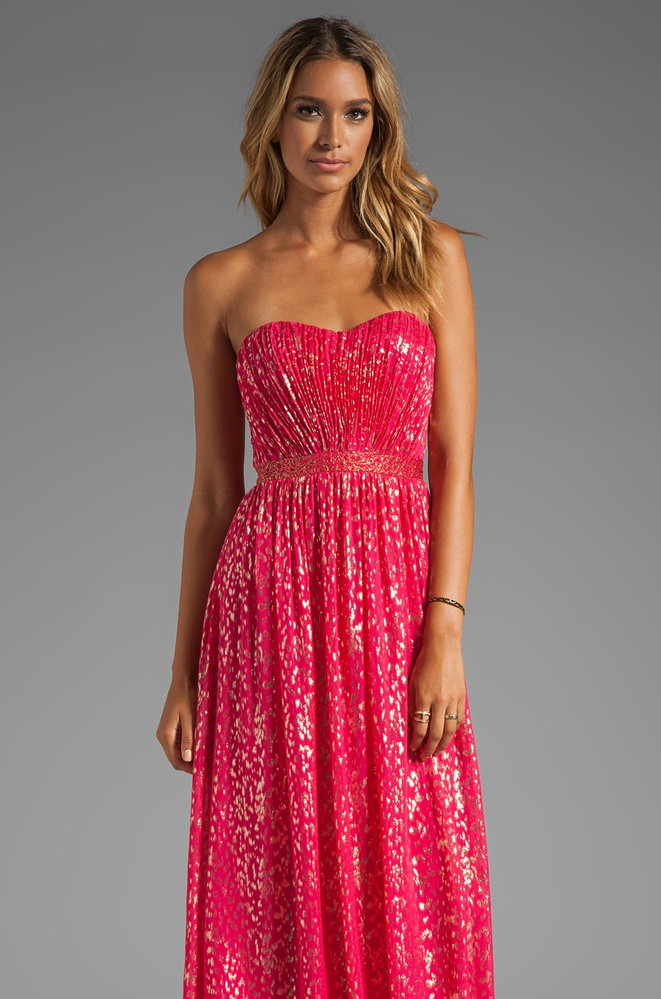 ERIN erin fetherston Christina Sparkle Gown in Bright Rose