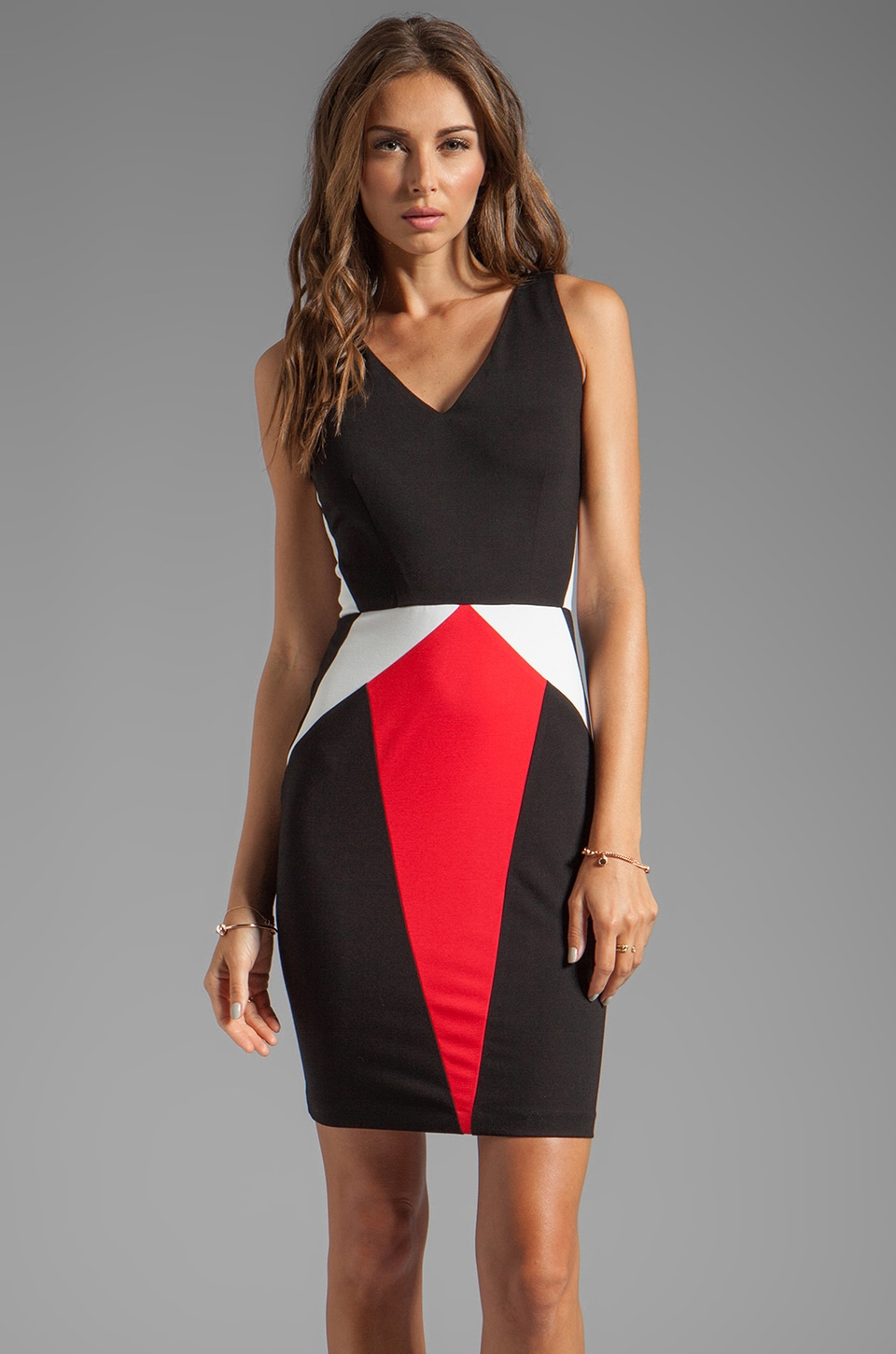 ERIN erin fetherston Julie Dress in Black/White/Ruby Red
