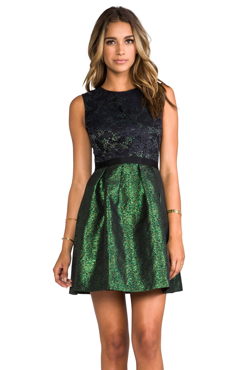 ERIN erin fetherston Alice Dress in Black Lace/Evergreen