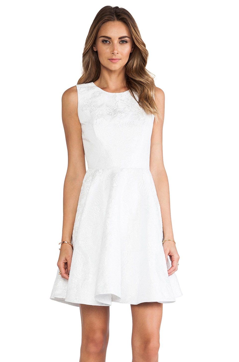 ERIN erin fetherston Daffodil Dress in White & Silver