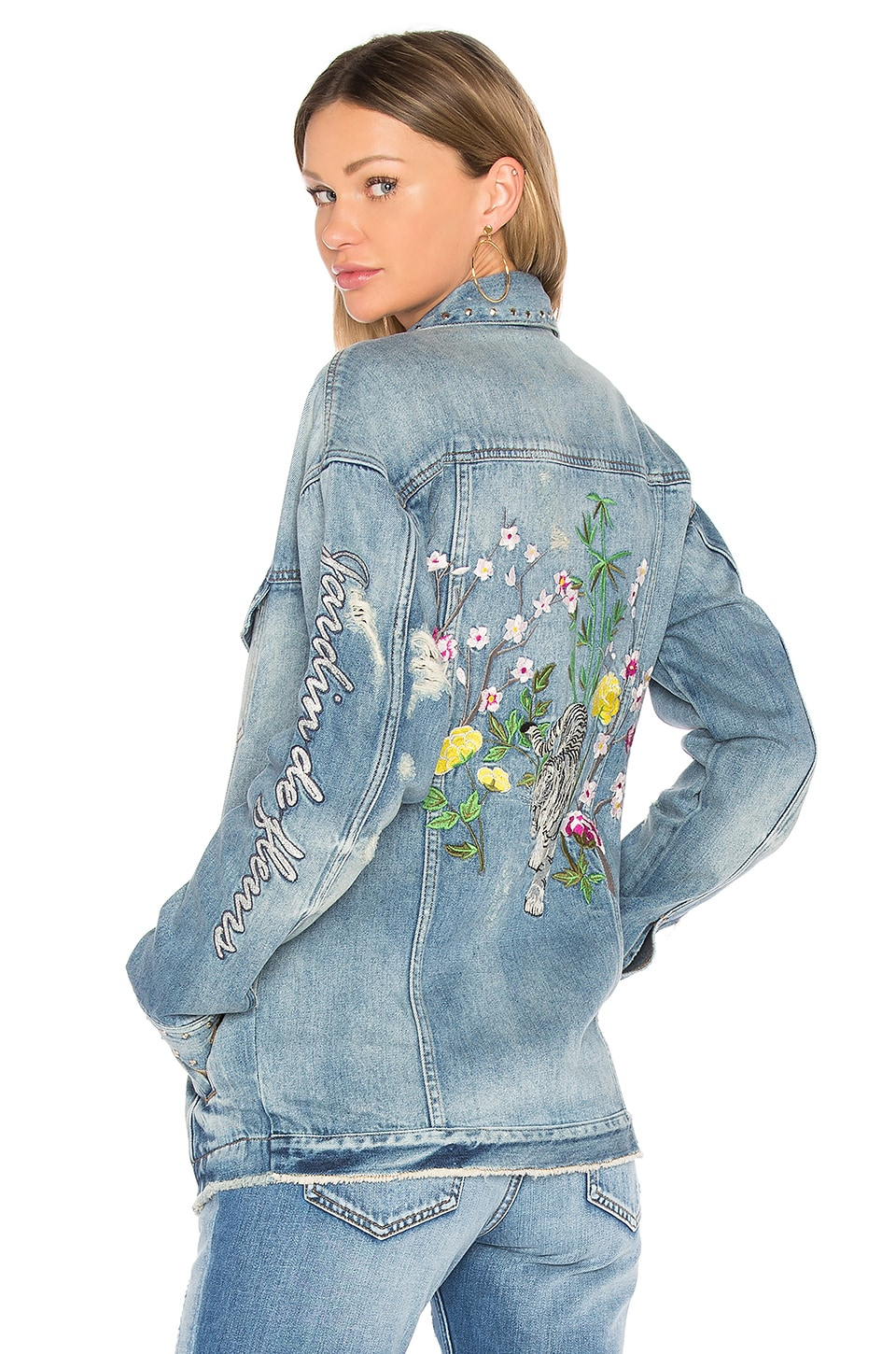 ei8ht dreams Embellished Oversized Denim Jacket in Medium Destroyed