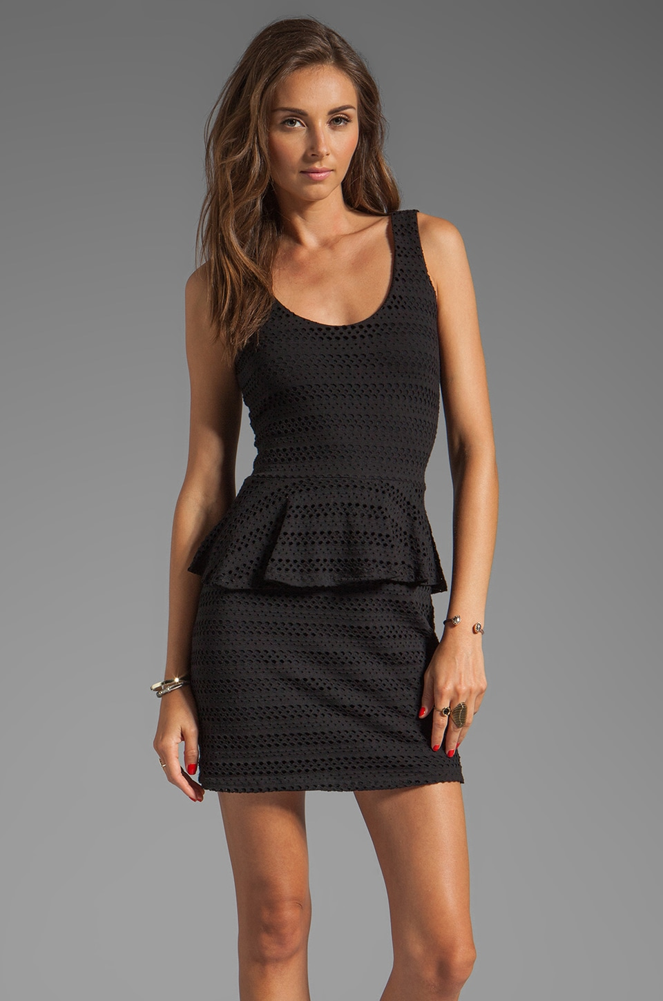 Eight Sixty Peplum Tank Dress in Black