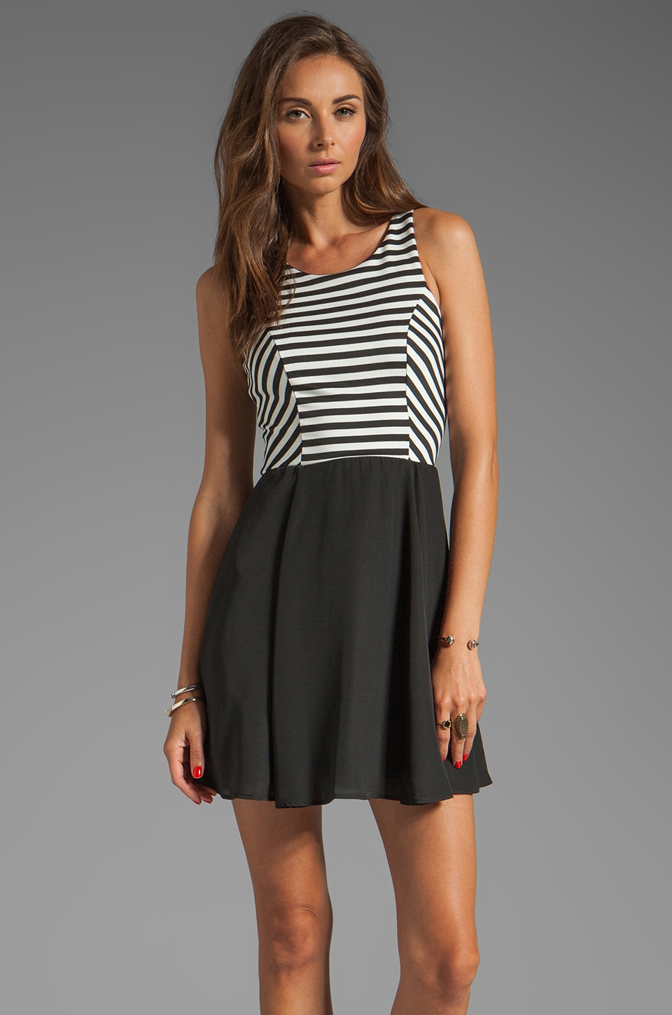 Eight Sixty Stripe Tank Dress in Black/White