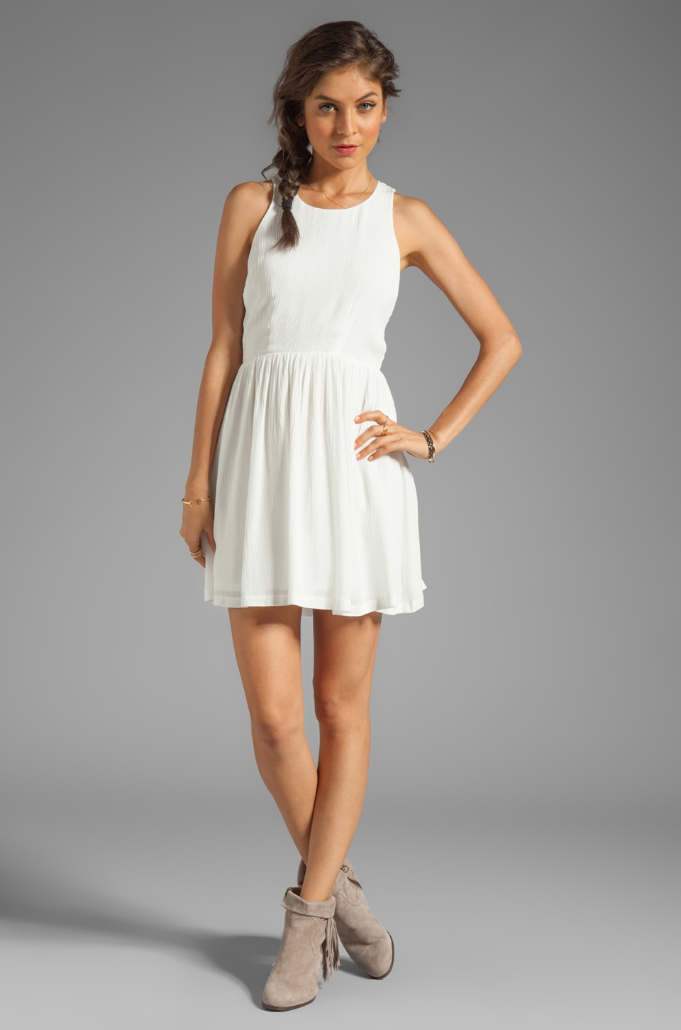 Eight Sixty Spider Web Back Gauze Dress in Off White  REVOLVE