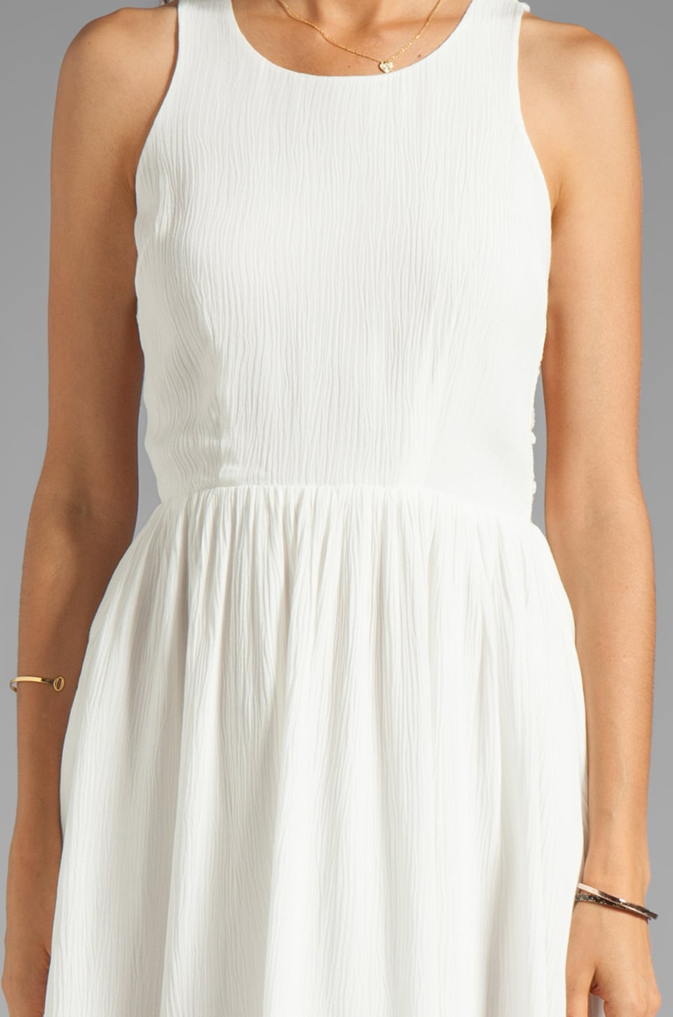 Eight Sixty Spider Web Back Gauze Dress in Off White