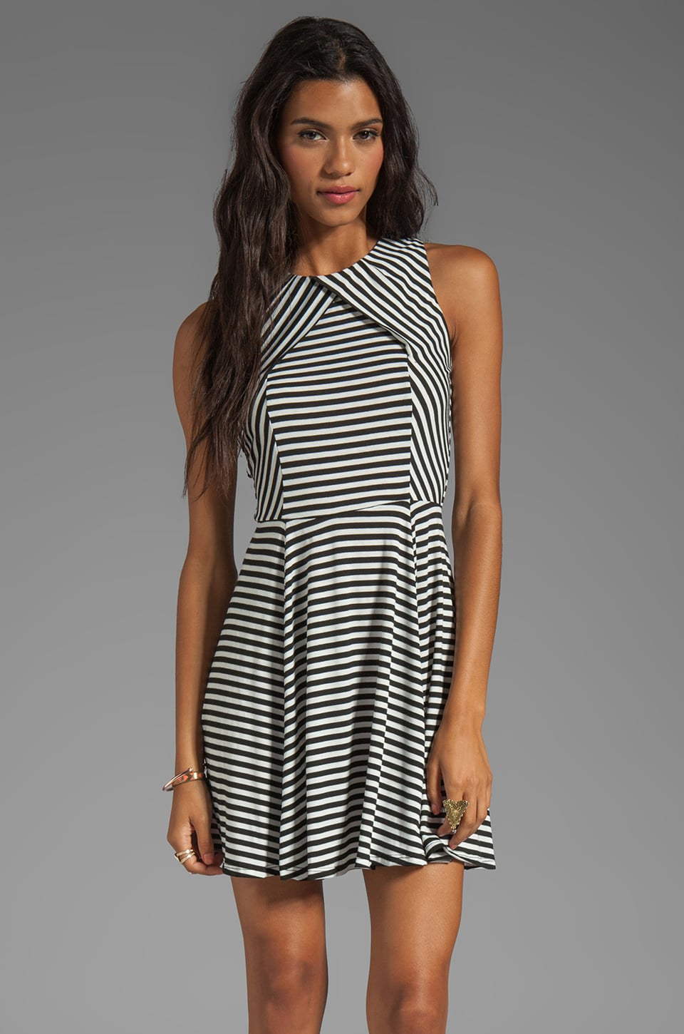 Eight Sixty Striped Mini Dress in Black/White