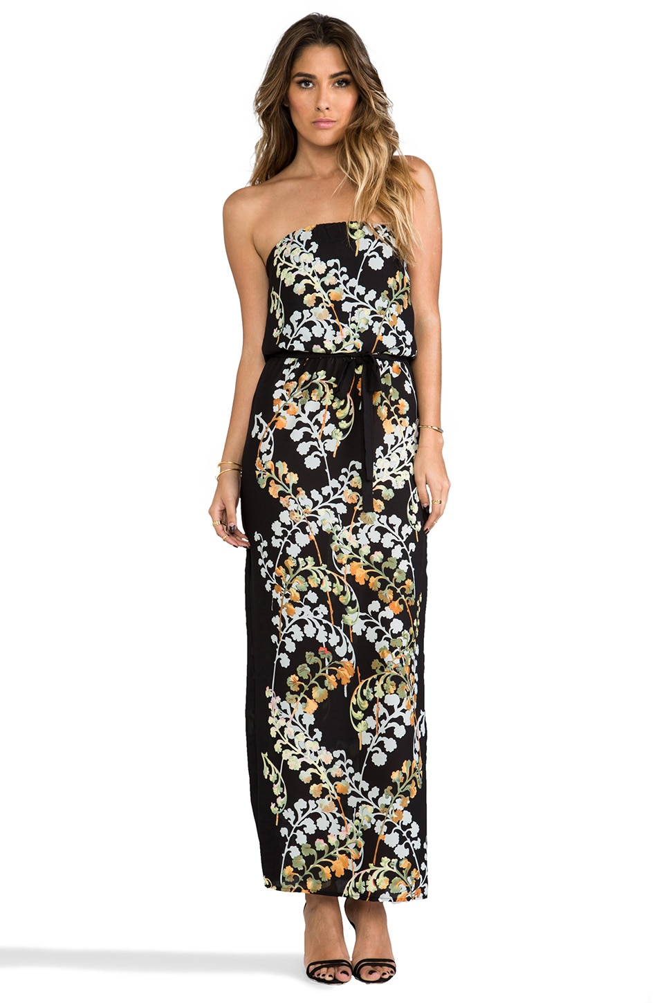 Eight Sixty Strapless Maxi Dress in Black Floral