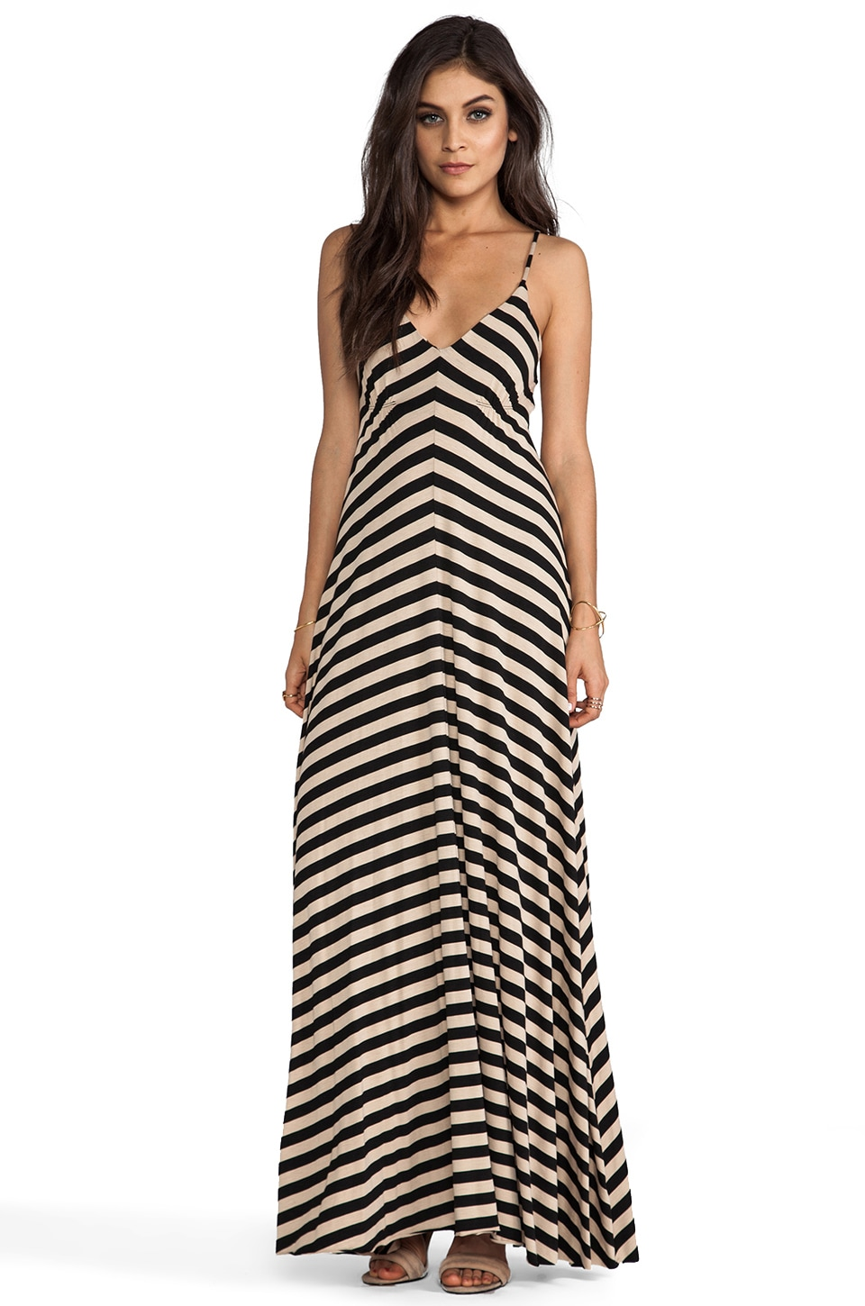 Eight Sixty Stripe Maxi in Camel & Black