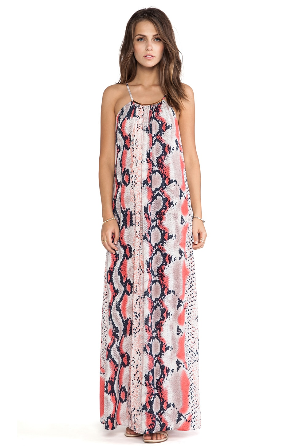 Eight Sixty Necklace Anaconda Maxi in Hot Coral & Denim