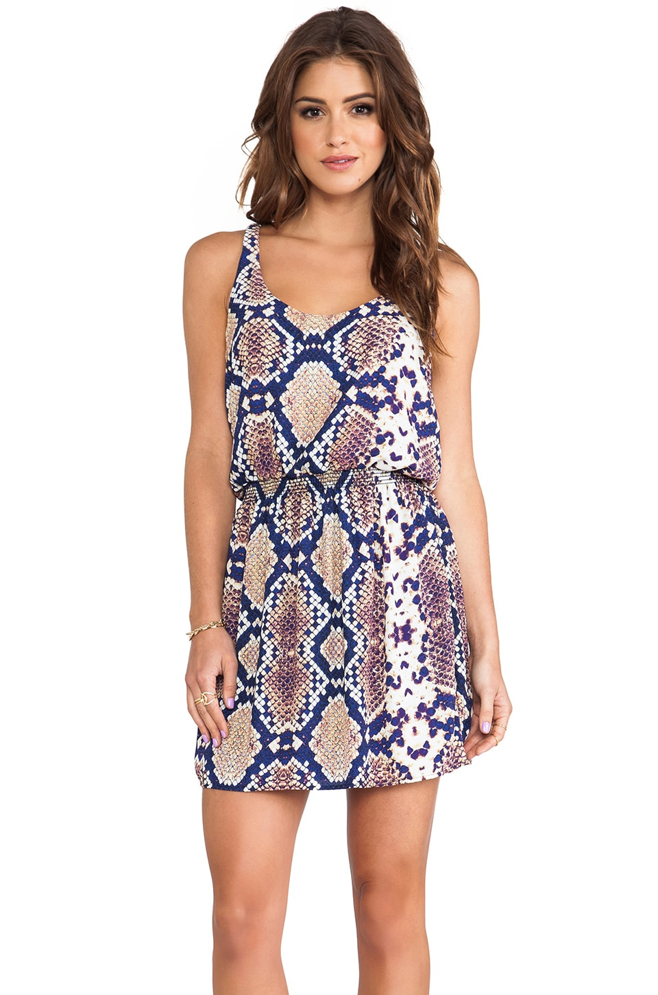 Eight Sixty Racerback Mini Dress in Navy & Purple & Gold