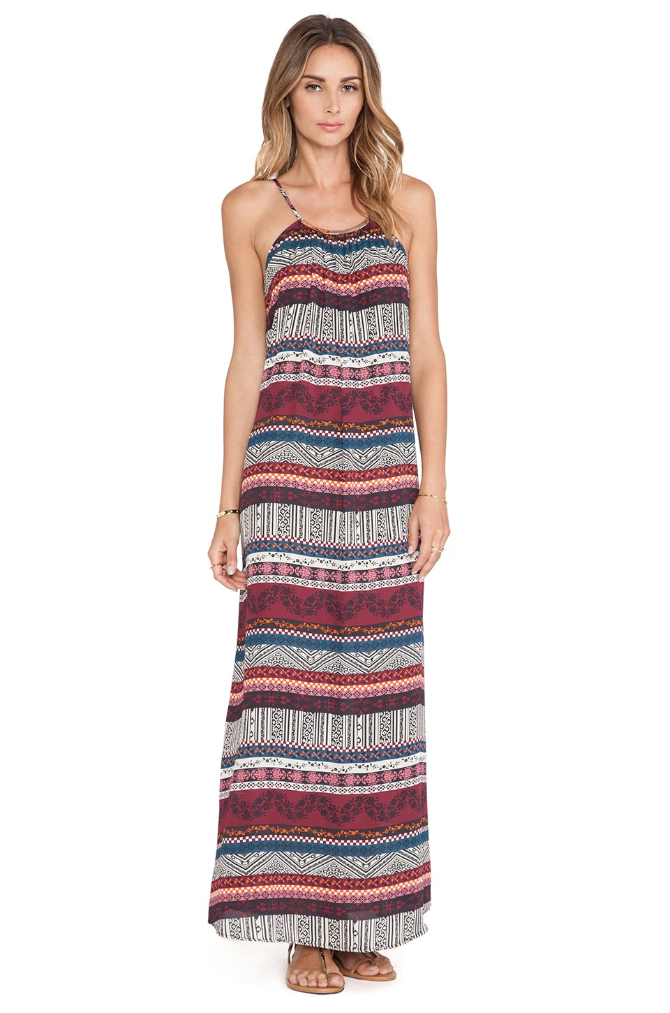 Eight Sixty Necklace Maxi Dress in Maroon & Multi