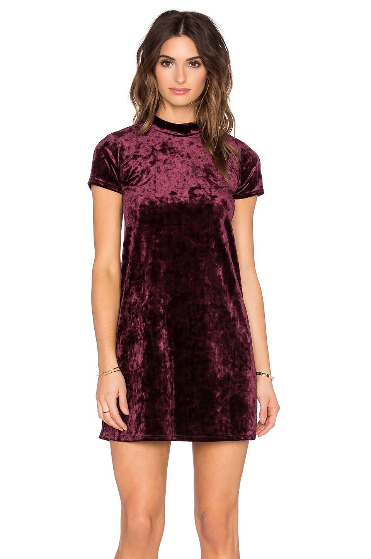 Eight Sixty Short Sleeve Velvet Dress in Burgundy