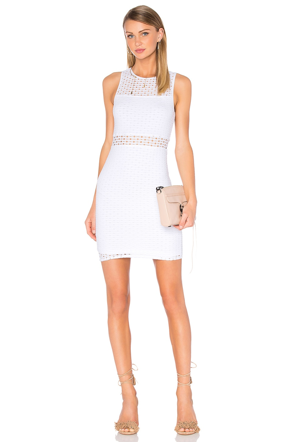 Eight Sixty Sleeveless Eyelet Mini Dress in White