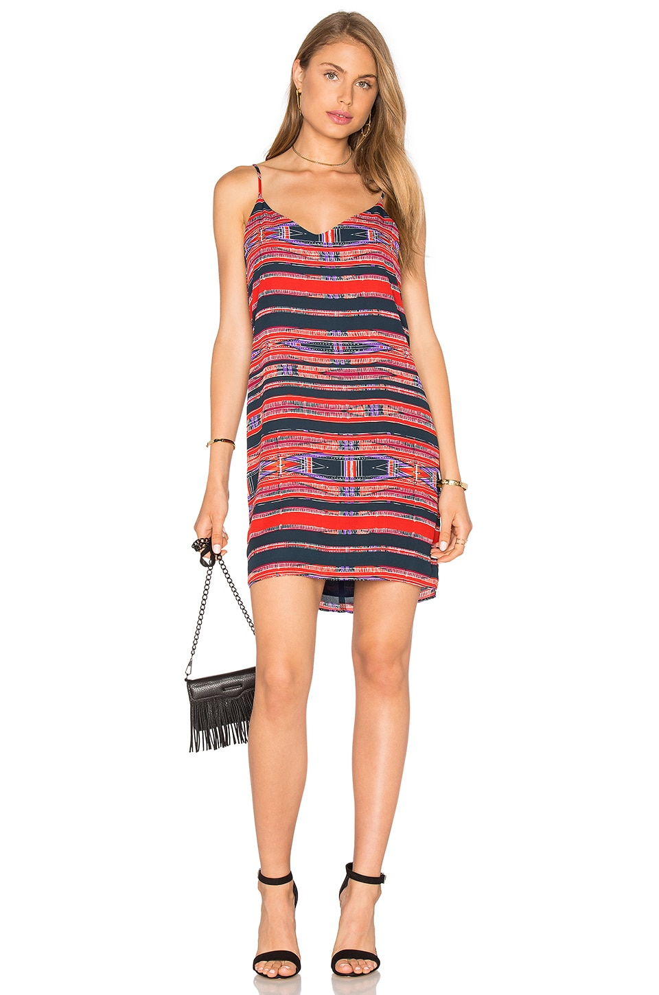 Eight Sixty V Back Tank Dress en Red & Navy
