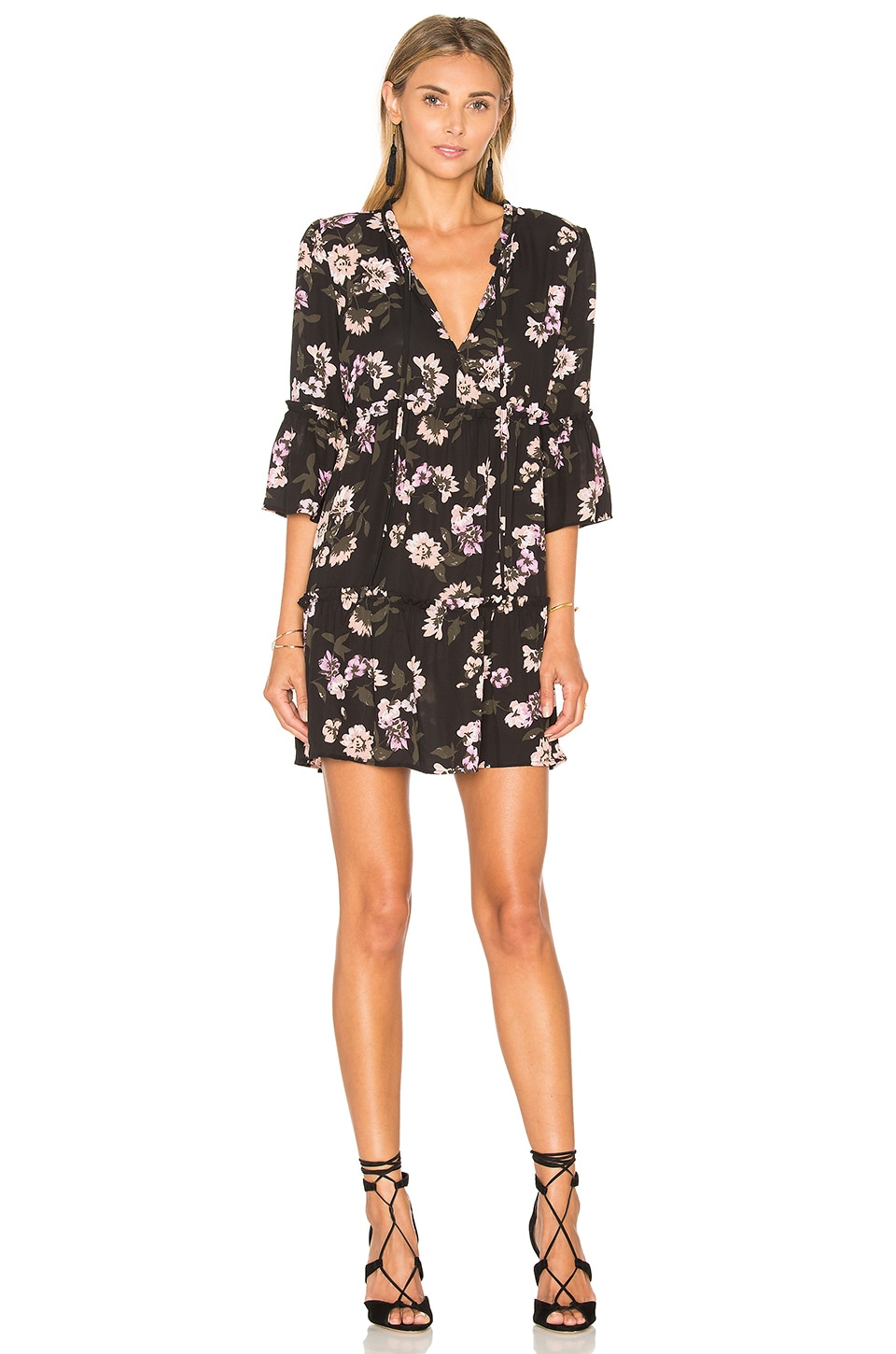 Eight Sixty Peach Blossom Dress in Black & Pink