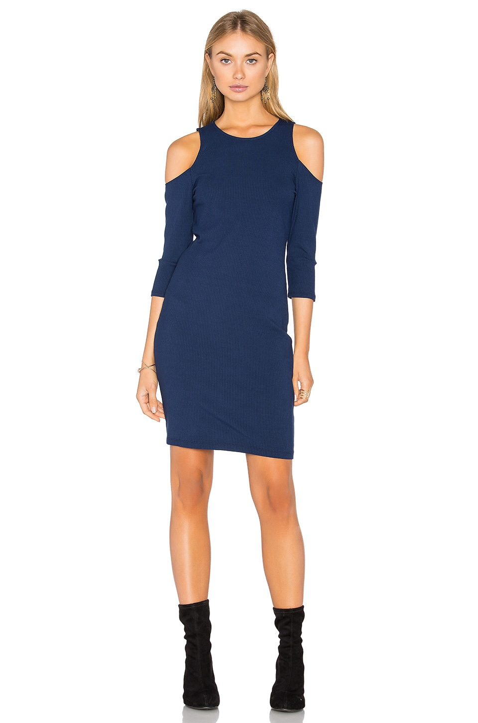 Cold Shoulder Ribbed Dress by Eight Sixty