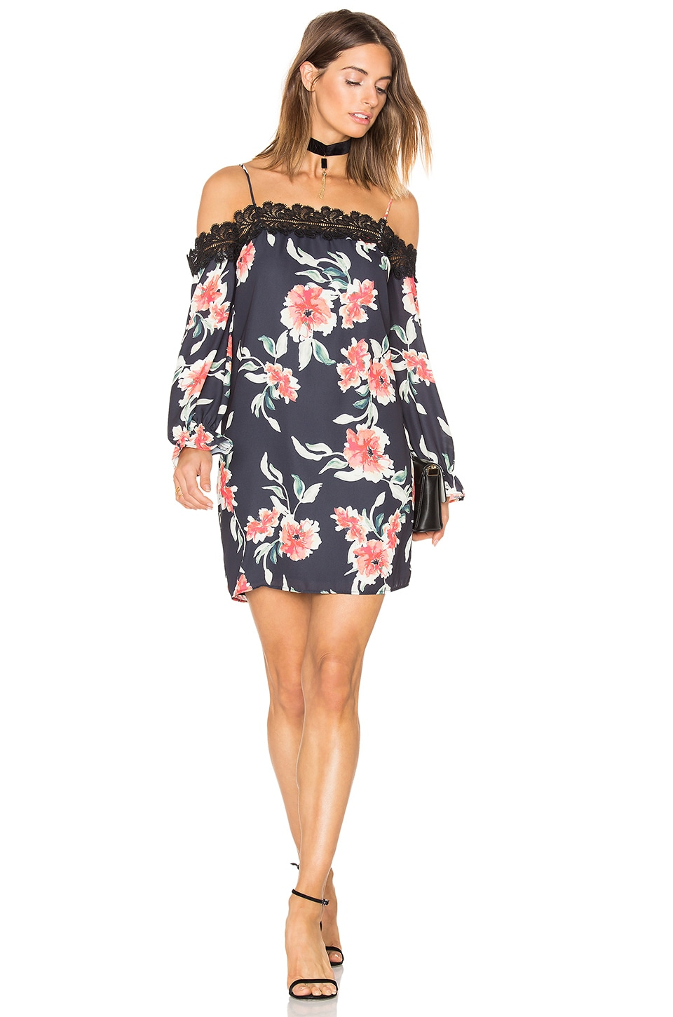 Eight Sixty Whispering Floral Dress in Black & Coral