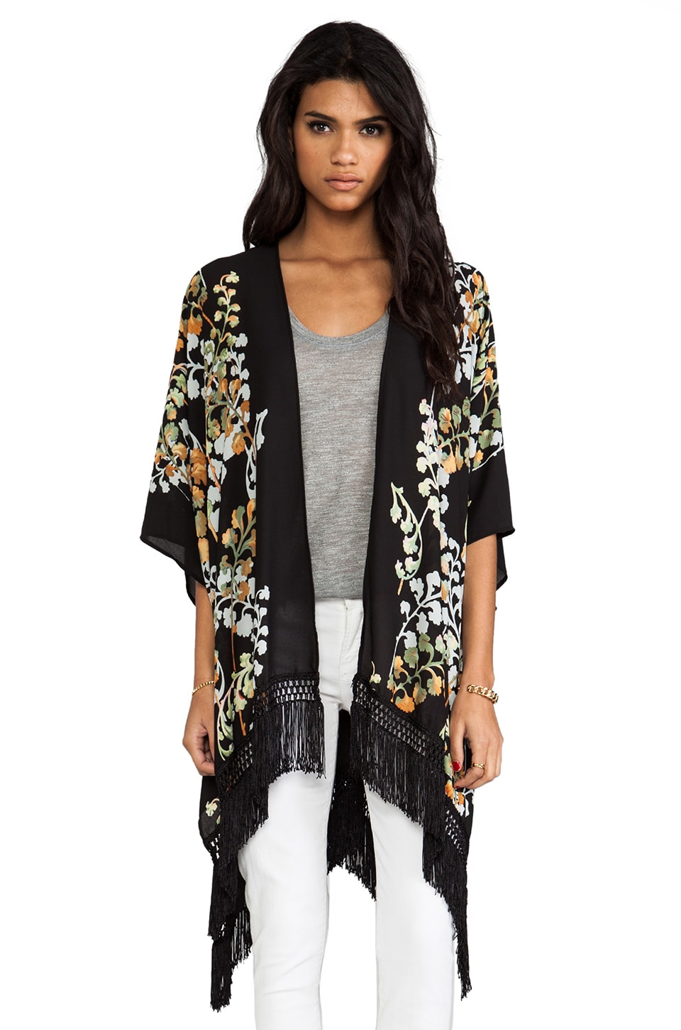 Eight Sixty Kimono in Black Multi