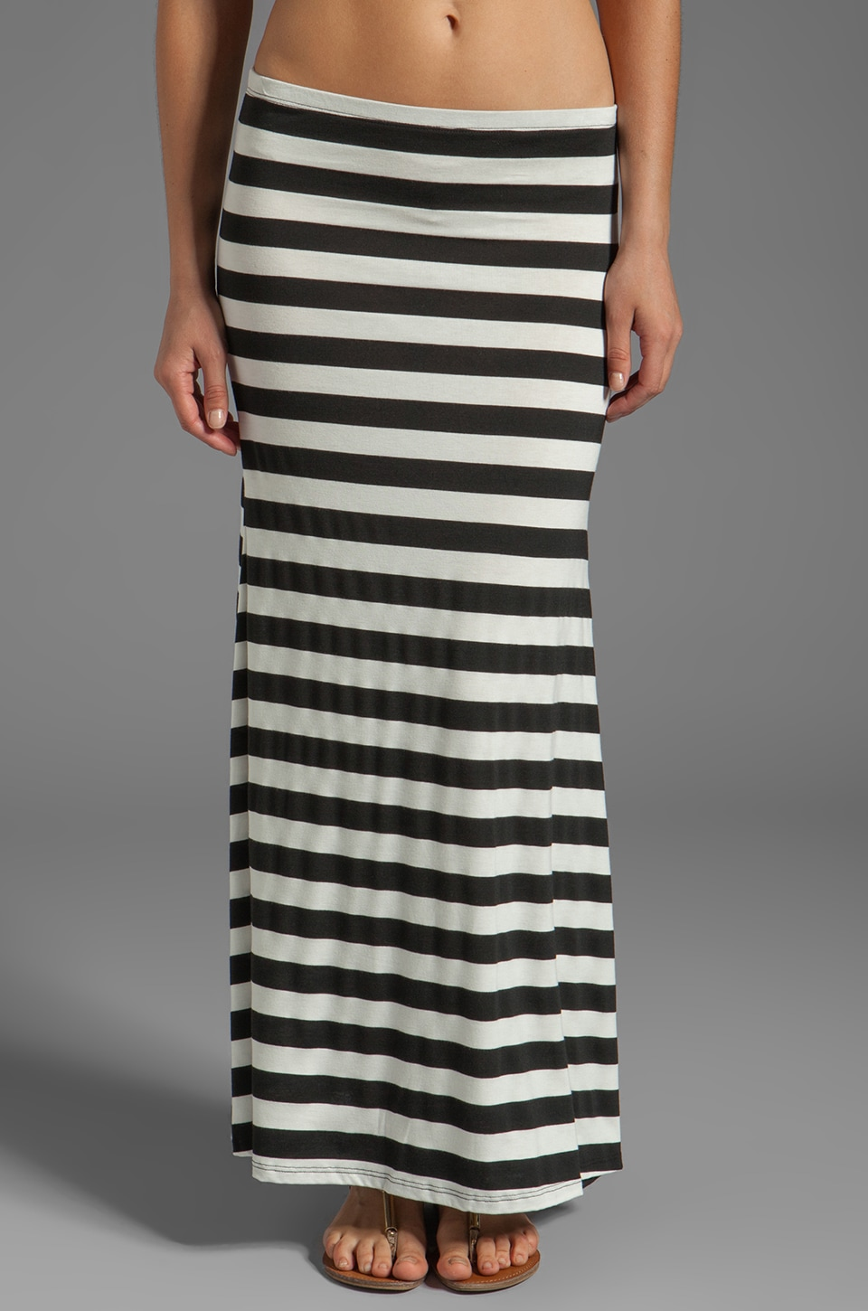 Eight Sixty Stripe Maxi Skirt in Black/White