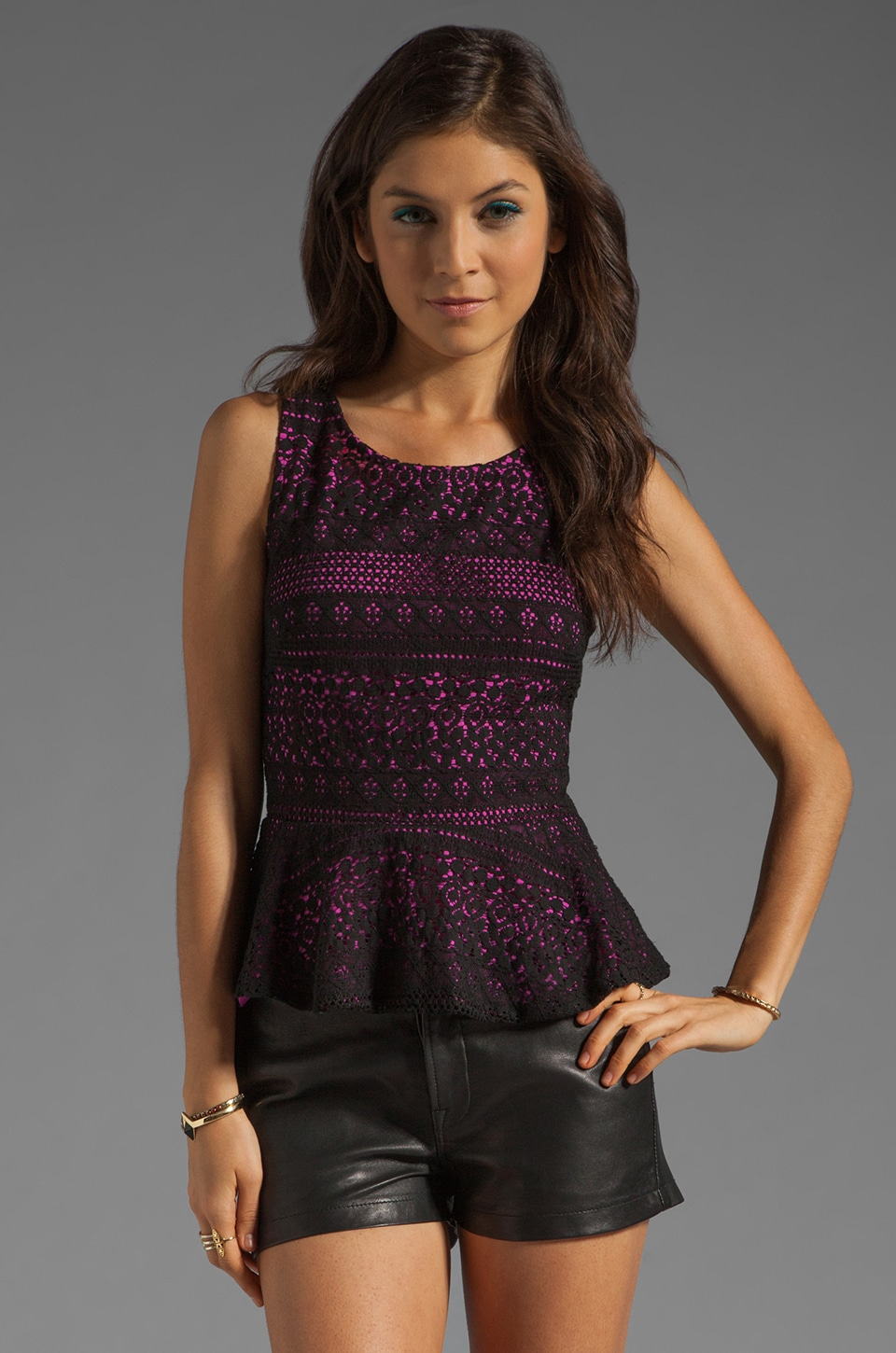 Eight Sixty Lace Peplum Top in Black/Hibiscus