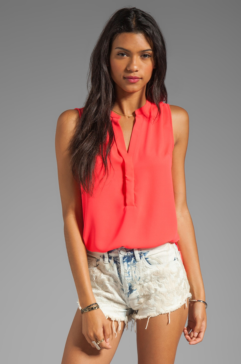 Eight Sixty Sleeveless Tank in Neon Coral