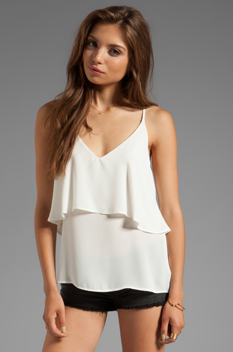 Eight Sixty Double Cami in White
