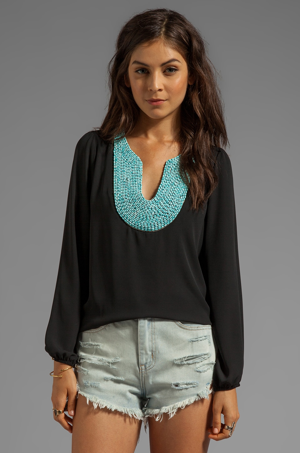 Eight Sixty Turquoise Beading Blouse in Black