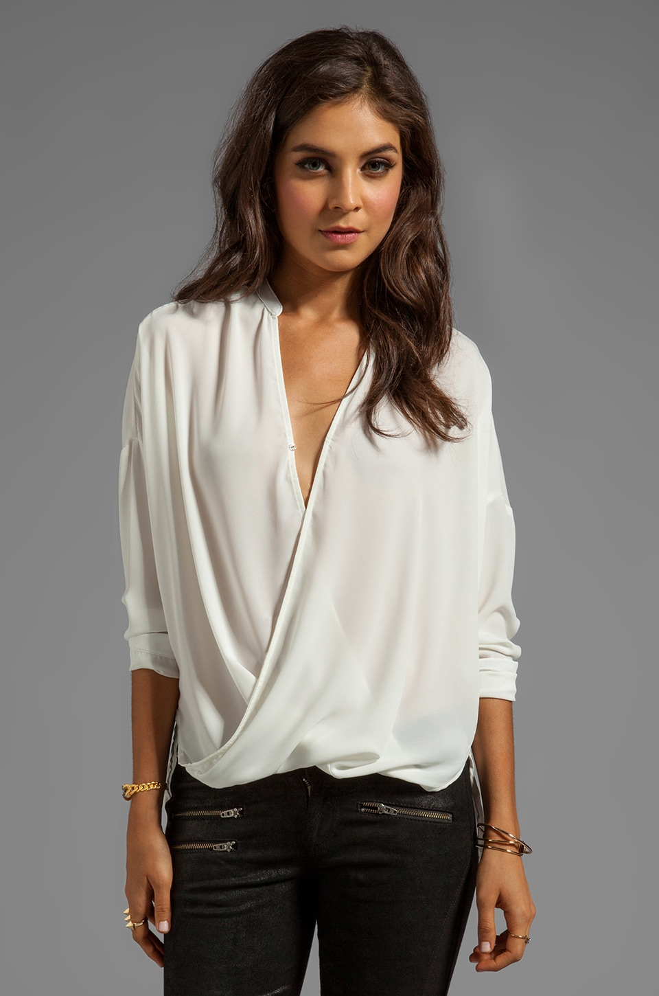 Eight Sixty Wrap Blouse in White