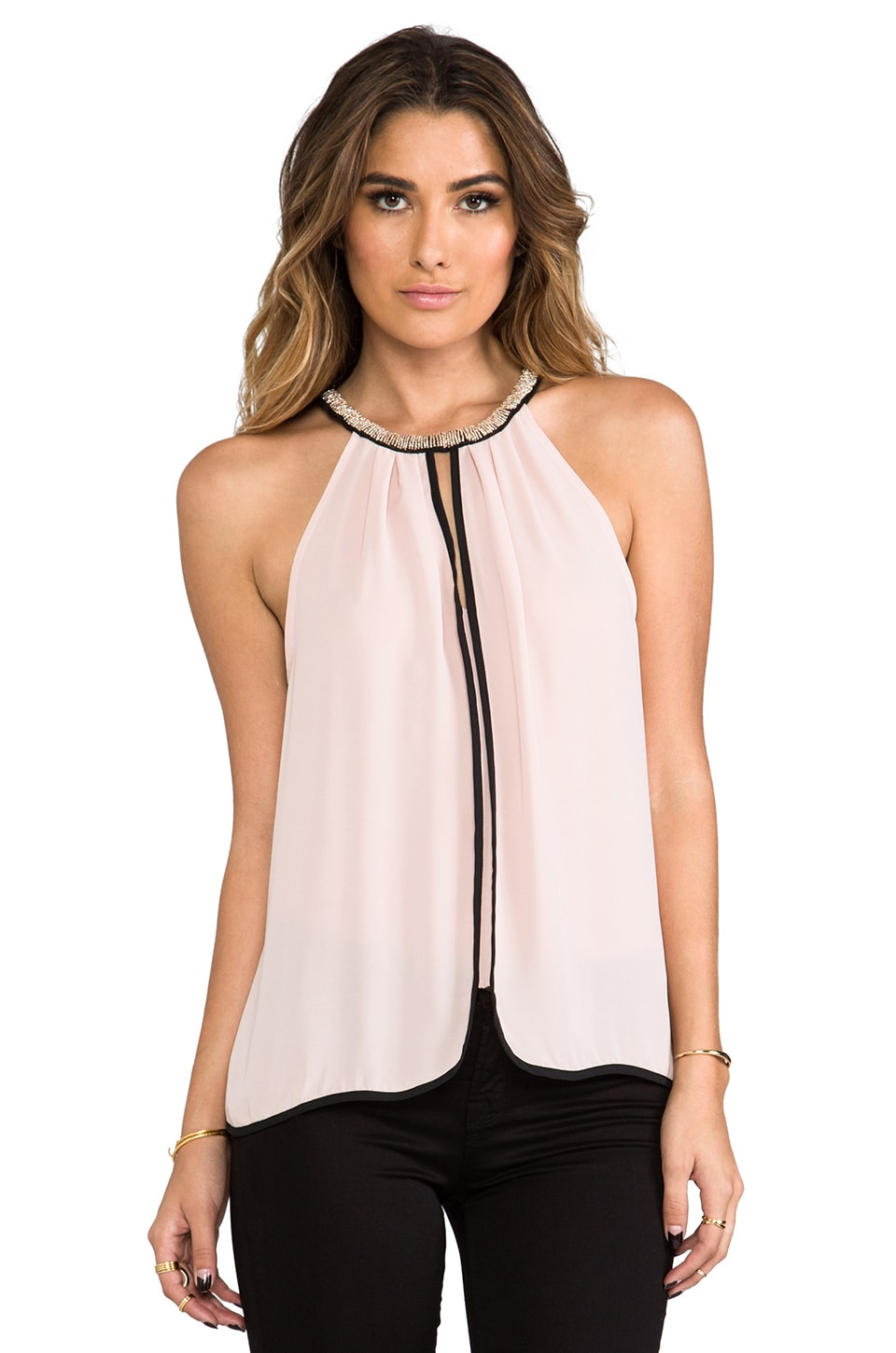 Eight Sixty Embellished Halter Top in Rose