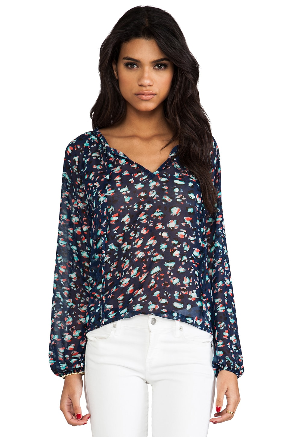 Eight Sixty Turtle Bay Blouse in Navy Aqua