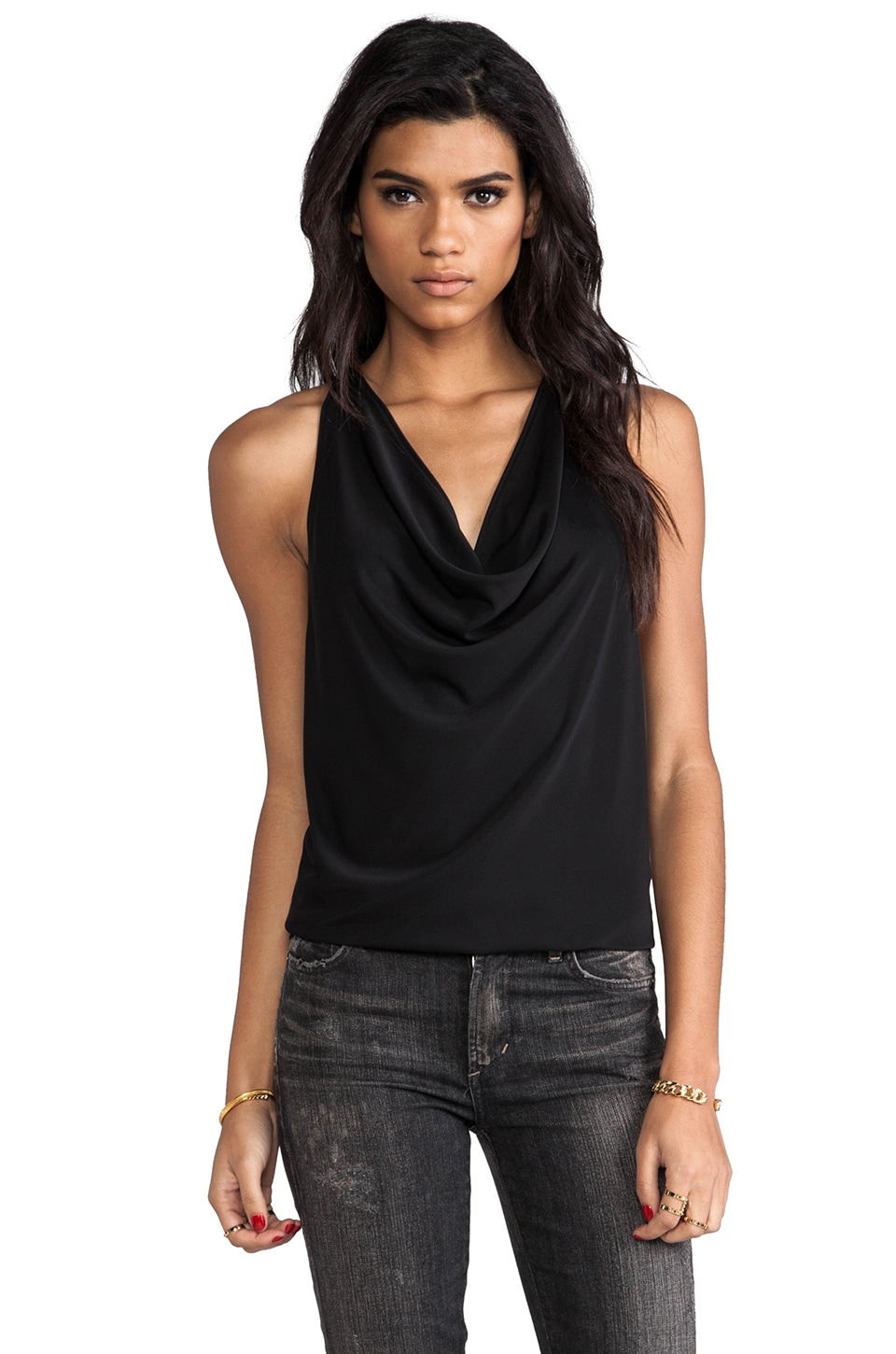 Eight Sixty Drape Top in Black