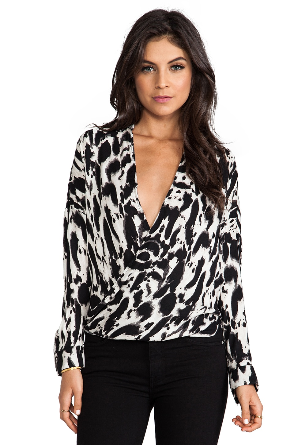 Eight Sixty Animal Print Top in Cement & Black